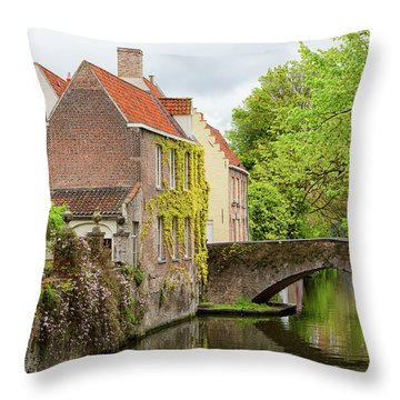 Bruges Footbridge Over Canal Throw Pillow