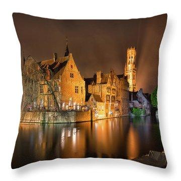Brugge Belgium Belfry Night Throw Pillow