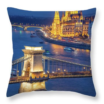 Budapest At Night Throw Pillow