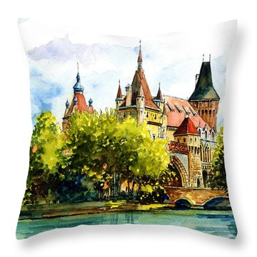 Budapest Castle Throw Pillow
