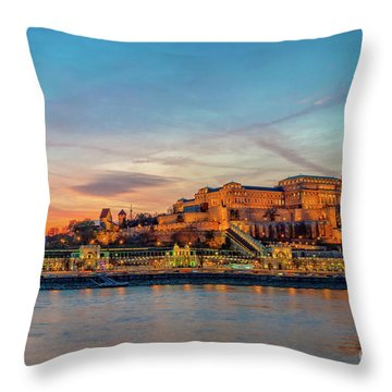 Budapest Castle At Sunset Throw Pillow