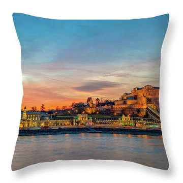 Budapest Castle Panorama Throw Pillow