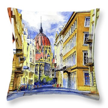 Budapest City Scape Throw Pillow