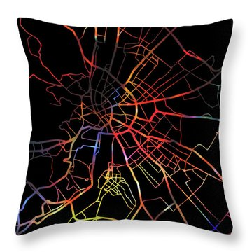 Budapest Hungary City Street Map Watercolor Dark Mode Throw Pillow