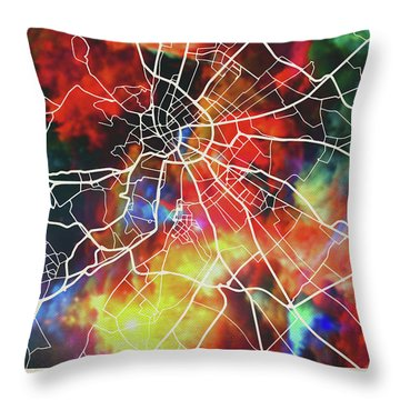Budapest Hungary Watercolor City Street Map Throw Pillow