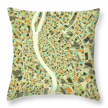 Budapest Map 1 Throw Pillow