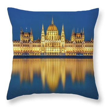 Budapest Parliament At Night Throw Pillow