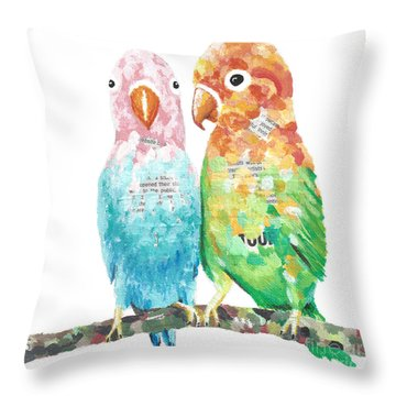 Budgies In Love Throw Pillow