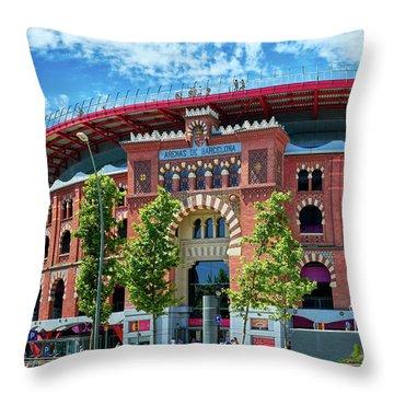 Bullring In Barcelona Throw Pillow