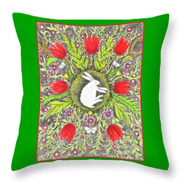 Bunny Nest With Red Flowers And White Butterflies Throw Pillow