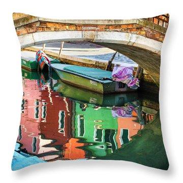 Burano Bridge Reflections Throw Pillow