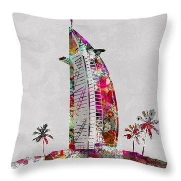 Burj Al Arab, Hotel, Dubai Land Mark, Artist Singh Throw Pillow