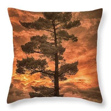 Burning Sky Throw Pillow