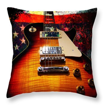 Burst Guitar American Flag Background Throw Pillow