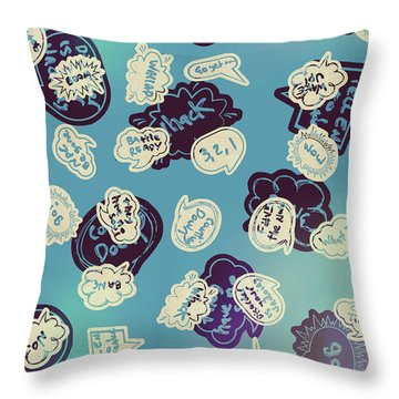 Bursts Of Cartoon Communication Throw Pillow