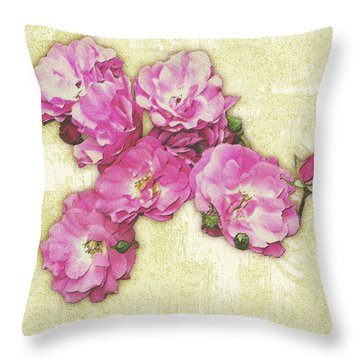 Bush Roses Painted On Sandstone Throw Pillow