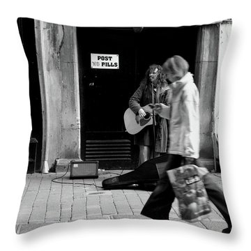 Throw Pillow featuring the photograph Busker by Edward Lee