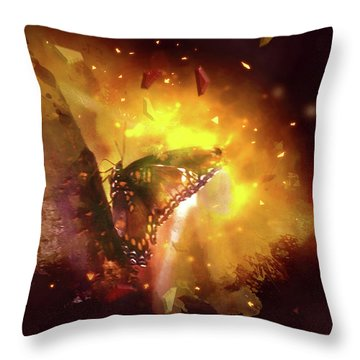 Butterfly Color Explosion. Throw Pillow