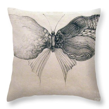 Throw Pillow featuring the drawing Butterfly For Jeffrey by Rosanne Licciardi