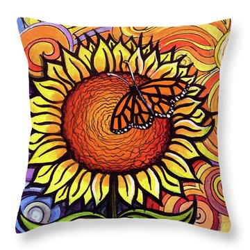 Butterfly Sunflower Throw Pillow