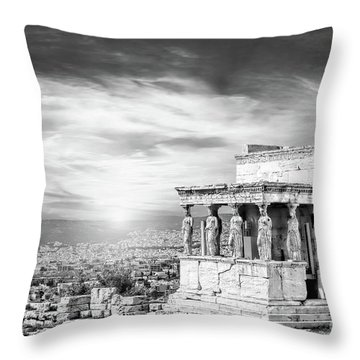 Bw - The Caryatids Of Acropolis In Athens, Greece Throw Pillow