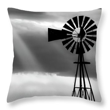 Throw Pillow featuring the photograph Bw Windmill And Crepuscular Rays -01 by Rob Graham