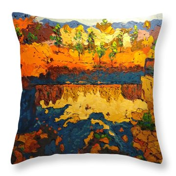 Throw Pillow featuring the painting By The Basin by Ray Khalife