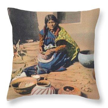c1920 Moki Indian Pot Maker, Fred Harvey Arizona Color Postcard Throw Pillow