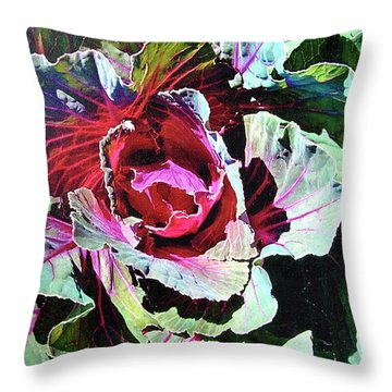Throw Pillow featuring the painting Cabbage by John Dyess