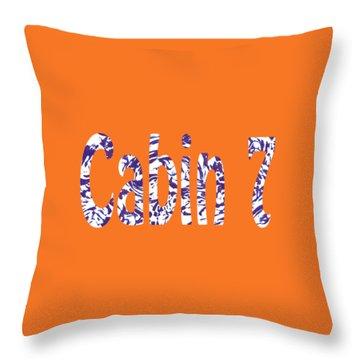 Cabin 7 Blue White Orange Throw Pillow