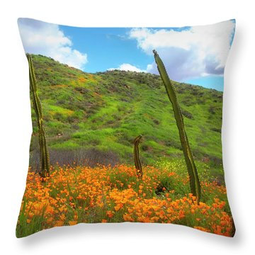 Cacti And Poppies Throw Pillow