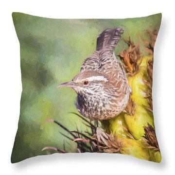 Cactus Wren Throw Pillow