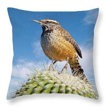 Cactus Wren On A Saguaro Cactus Throw Pillow