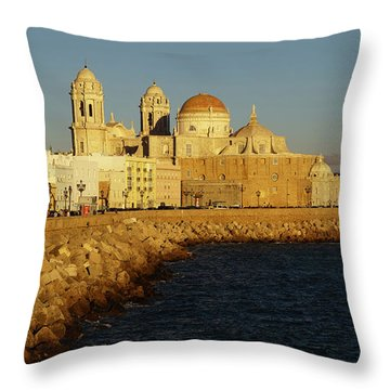 Throw Pillow featuring the photograph Cadiz Cathedral From Southern Field Spain by Pablo Avanzini