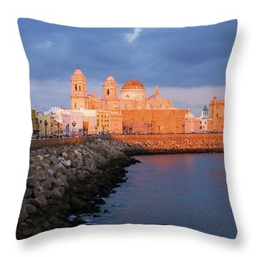 Throw Pillow featuring the photograph Cadiz Skyline And Cathedral Andalucia Spain by Pablo Avanzini