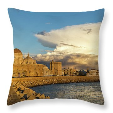 Throw Pillow featuring the photograph Cadiz Skyline And Cathedral Under Cumulonimbus by Pablo Avanzini