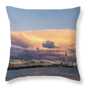 Throw Pillow featuring the photograph Cadiz Skyline Under Cumulonimbus by Pablo Avanzini