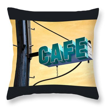 Cafe Route 66 Throw Pillow