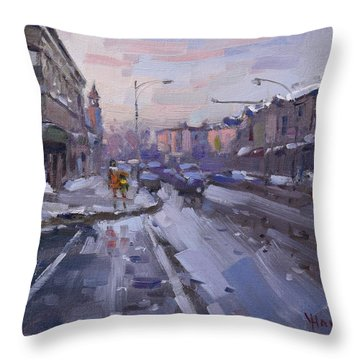 Caffe Aroma At Elmwood Ave  Throw Pillow