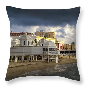 Throw Pillow featuring the photograph Caleta Beach Spa Cadiz Spain by Pablo Avanzini