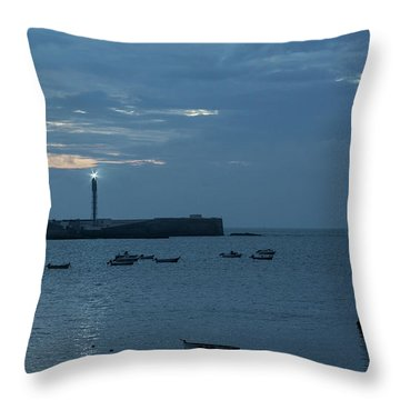 Throw Pillow featuring the photograph Caleta Cove At Dusk Between Castles Cadiz Spain by Pablo Avanzini
