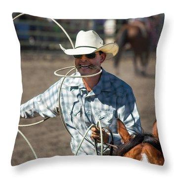 Calf Roper Throw Pillow