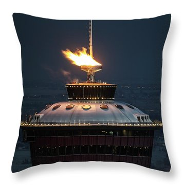Throw Pillow featuring the photograph Calgary Tower - 2014 Olympic Torch by Brad Allen Fine Art