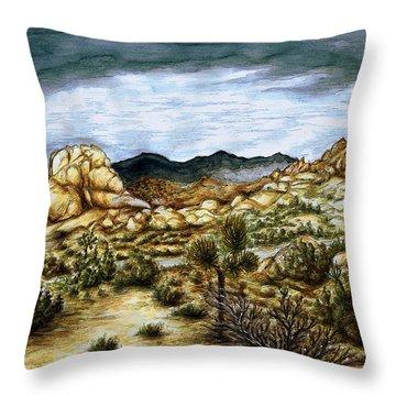 California Desert Landscape - Watercolor Art Painting Throw Pillow