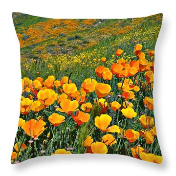 California Golden Poppies And Goldfields Throw Pillow