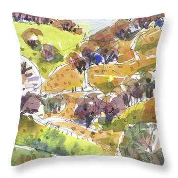 Throw Pillow featuring the painting California Winter Landscape by Judith Kunzle
