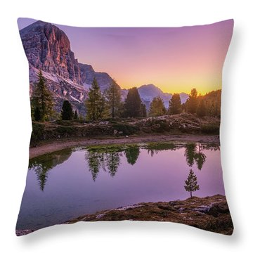 Calm Morning On Lago Di Limides Throw Pillow
