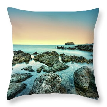 Calm Rocky Coast In Greece Throw Pillow