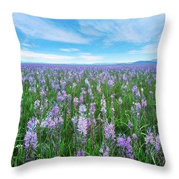 Camas Blue Throw Pillow