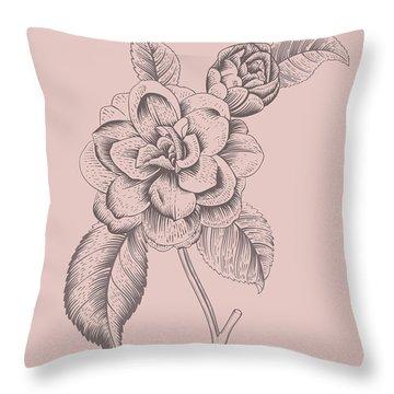 Camellia Blush Pink Flower Throw Pillow